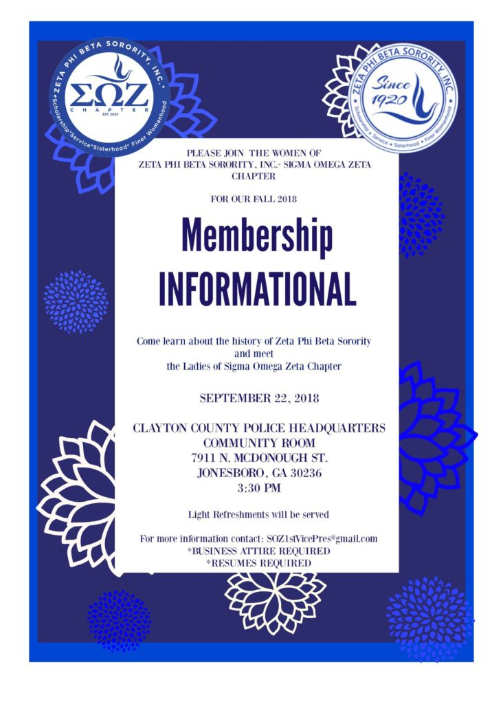 September 22, 2018 - Membership Informational